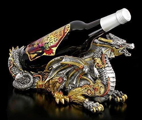 Figuren Shop GmbH Fantasy Flaschenhalter Steampunk Drache - Guardian of The Grapes   Gothic Flaschenständer, handbemalt