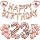 Feelairy 23 Ans Anniversaire Décoration Or Rose Kit 23ème Anniversaire Decor, Ballons en Aluminium Géant Numéro 23, Guirlande Happy Birthday Ballon, 23e Décoration d'anniversaire pour Femme Filles