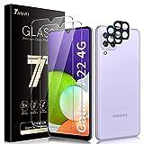 TAURI 4 Pack Protector de Pantalla Samsung Galaxy A22 4G [No Aplica 5G], 2 Pack HD Ultrafino Cristal Vidrio Templado y 2 Pack Protector de Lente de cámara, Dureza 9H, Sin Burbujas,Alta sensibilidad