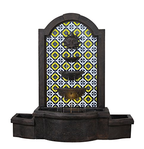 Kenroy Home 51036BRZ Daybreak Floor Fountain with Light and Optional Planters, Multicolor