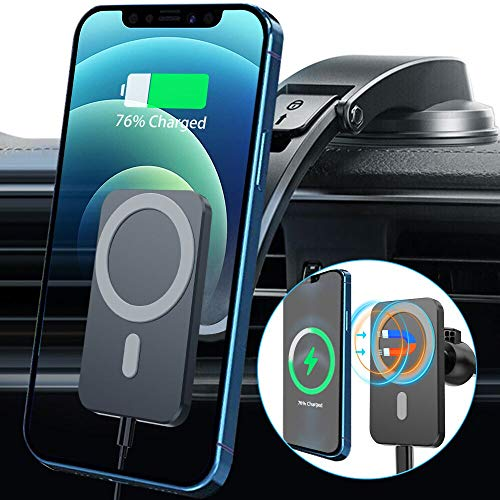 15W Magnetic Wireless Car Charger for iPhone 12/12 Pro/ 12 Pro Max/ 12 Mini/Mag-Safe Case, Qi Fast Charging Car Phone Mount, Dashboard Air Vent Car Holder for iPhone 12 (Compatible with Magnetic Case)