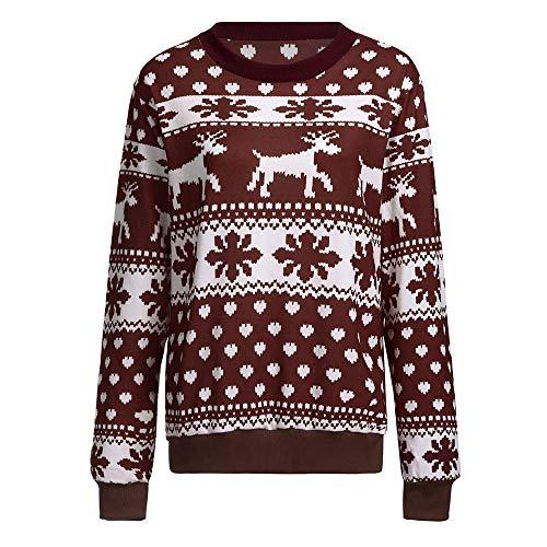 IZHH Damen Tops Frauen Weihnachten Pullover Schnee Muster Floral Dot Print Tops Bluse Shirt Damen Langarm Schneeflocke Print Pullover Tops T-Shirts Tunika Blusen Pullover Sweat-Shirts(Braun,X-Large)