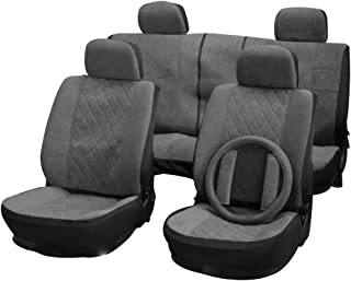 cciyu Seat Cover Universal Car Seat Cushion w/Headrest Cover/Steering Wheel Cover/Belt Pad - 100% Breathable Car Seat Cover Washable Auto Covers Replacement fit for Most Cars(Gray)