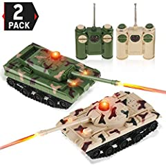 Includes 2 Battle Tanks with its own remote controls that look like binoculars.Fun and engaging! Get ready for battle! Full function control: move forward & backward, turn left & right. Fully maneuverable with gripping caterpillar tracks Aim & fire a...