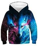 GLUDEAR Teen Boys Girls Novelty Animal Galaxy Hoodies Sweatshirts Pullover,Blue Wolf,11-13 Years