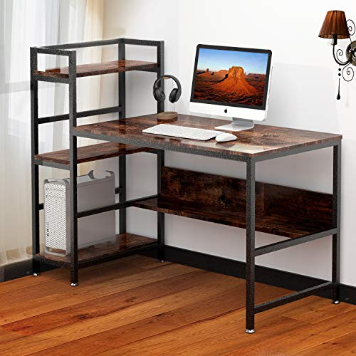 Computer Desk with Shelves | Compact Wood Metal Writing Study Desk Table with Storage Bookshelf for Home Office (Rustic)