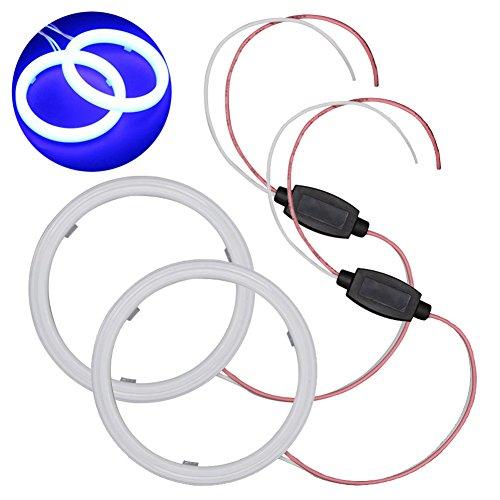 Taben Set de commutateur blanc 60 mm 36 SMD 3020 puces LED anneau clignotant Angel Eyes et boîtier antibrouillard avec coque laiteuse