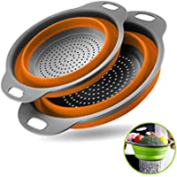 2-Pieces Zoopod Collapsible Colanders with Handles
