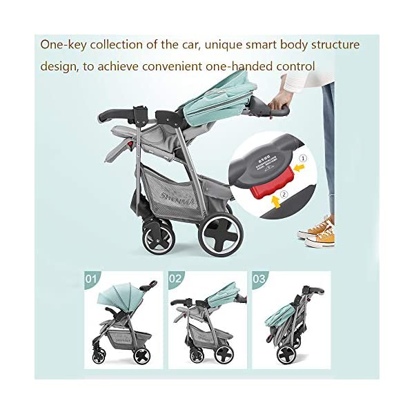 JINGQI Lightweight Folding Stroller Baby Stroller Children Can Sit And Recline Baby Portable Shock-Absorbing Trolley,Applicable Age 0-3 Years Old,Green JINGQI High-quality design: built-in shock absorber spring, flexible universal wheel, 360 degree rotation, PU wear-resistant shock-absorbing tires, five-point safety belt, detachable armrest, large storage basket, temporary storage rack Spacious seat, suitable for babies from 0 to 3 years old, sitting and lying freely, comfortable travel, cockpit and pedals can be adjusted Full sunshade, shelter children from wind and rain, and accompany them to travel safely 5