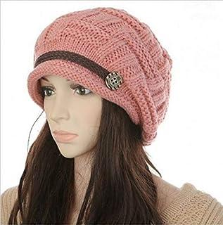 غطاء راس للنساء قبعة شتوية دافئة فضفاضة بحياكة سميكة، طاقية وقبعة تزلج كروشيه GH3132 زهري