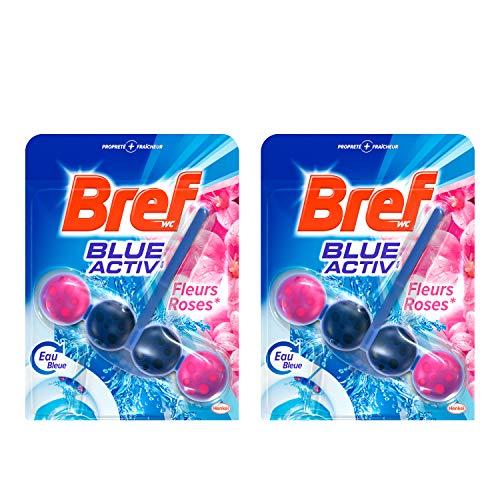 Bref Blue Activ' Fleurs Roses Blocs Nettoyants WC - Lot de 2
