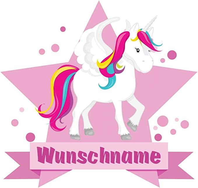 Samunshi Großes Einhorn Aufkleber Mit Namen Autoaufkleber Namensaufkleber Kinder In 7 Größen 25x22cm Mehrfarbig Küche Haushalt