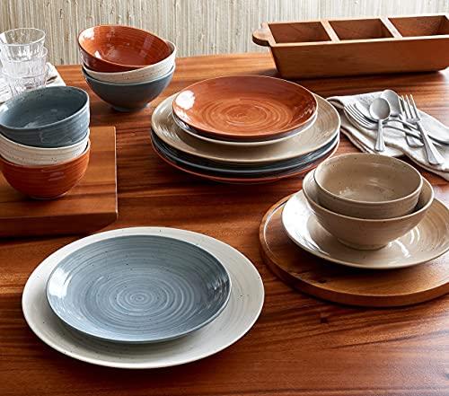 Sango Siterra Painter's Palette 16-Piece Stoneware Dinnerware Set with Round Plates and Bowls, Multicolor