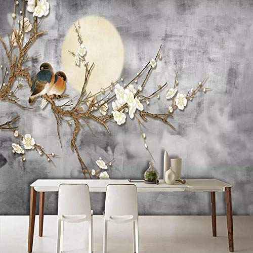 Fotobehang Chinese Stijl Bloemen en Vogels Niet-geweven Premium Art Print Fleece Muurschildering Poster voor Woonkamer TV Achtergrond Muur 137.79x100.78 inch