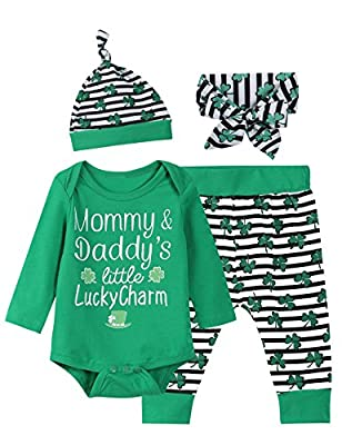 Baby Boys Girls Outfit Set St Patrick's Day Long Sleeve Clothes Bodysuit (Green, 0-3 Months)