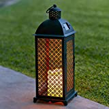 Moroccan Solar Powered LED Outdoor Fully Weatherproof Garden & Patio Flameless Candle Lantern