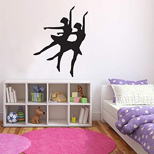 WERWN Bailarina Silueta Bailarina Pegatinas de Pared niños niñas Dormitorio decoración del hogar Vinilo Pegatinas de Pared Estudio de Baile Arte murales