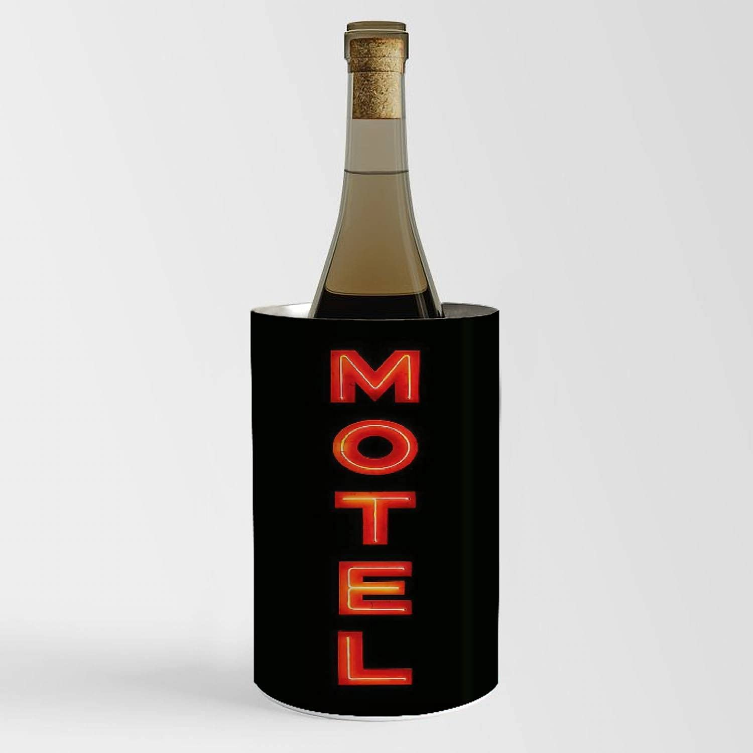 Wine Chiller Bucket High At the price quality - Motel neon Champagn black isolated on sign