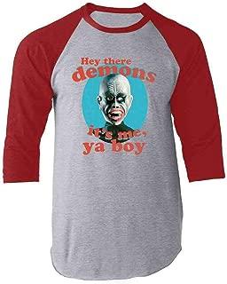Hey There Demons It's Me Ya Boy Funny Costume Raglan Baseball Tee Shirt