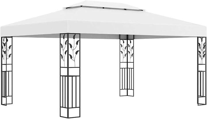 Gazebo da giardino bianco - vidaxl gazebo con tetto doppio 3x4 m bianco 48030