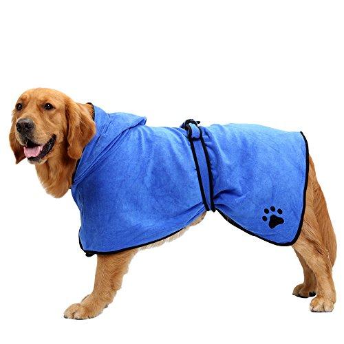 , Bleu XL Peignoir /à Capuche pour Chien Chat Microfibre Serviette de Bain Spongieux pour Animaux de Compagnie Pyjama Chiot Chaton Longueur 75cm