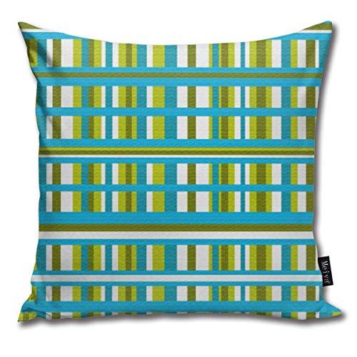 Fundas de almohada de color turquesa, verde oliva y lima a cuadros cojines decorativos fundas de almohada fundas de almohada cuadradas 45,7 x 45,7 cm