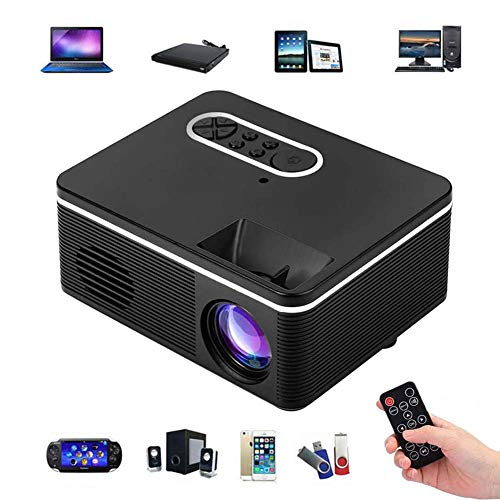 FXQIN 1080P HD Supported 400 Lux Portable Video Projector, Mini Projector, Compatible with TV Stick, HDMI, USB, AV, DVD, for Multimedia Home Theater, Built-in Speaker, Best Gift for Kid