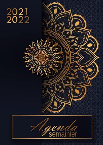 Agenda semainier 2021-2022: calendrier de juin 2021 à juillet 2022 - 1 semaine sur 2 pages - grand format A4 souple - mandala doré