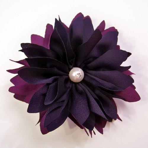 Silk Pearl Flower Hair Clip/Pin Brooch, Two Tone Purple