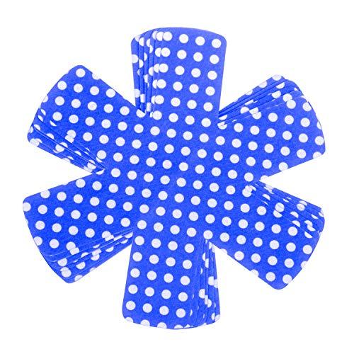 ZKSM Lot de 6 protecteurs de casseroles antidérapants pour éviter les rayures - En feutre - Pour empiler les ustensiles de cuisine et protéger les surfaces - Bleu - 35 cm