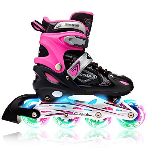 Xino Sports Kids Inline Skates for Girls & Boys - Adjustable Roller Blades with LED Illuminating Light Up Wheels - Youth Skates Can Be Used Indoors & Outdoors - Sizes for Ages 5-20 - Medium 1-4