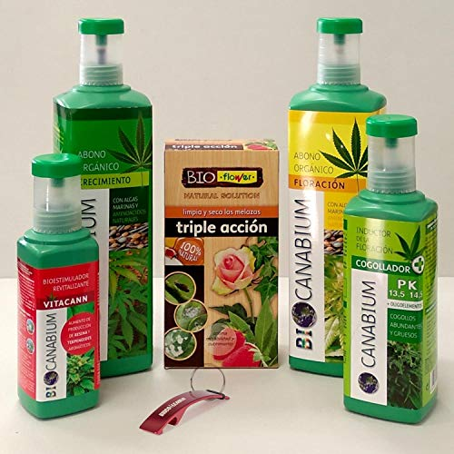 Bricolemar Set de Productos Esenciales para el Cultivo de Plantas Canabium + Llavero Regalo (Canabium Plus + Insecticida Triple Acción 100ml)