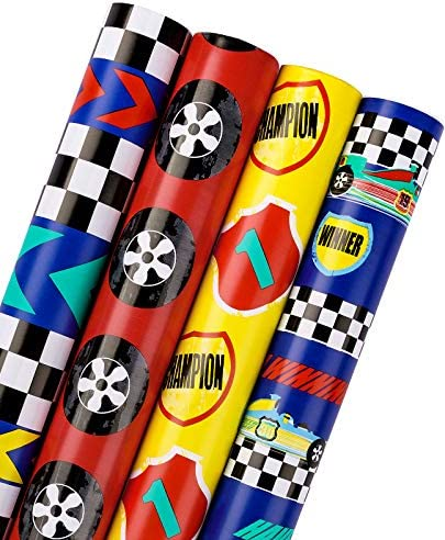 WRAPAHOLIC Birthday Wrapping Paper Roll Cool Racing Cars and Autodrome Set Perfect for Party product image