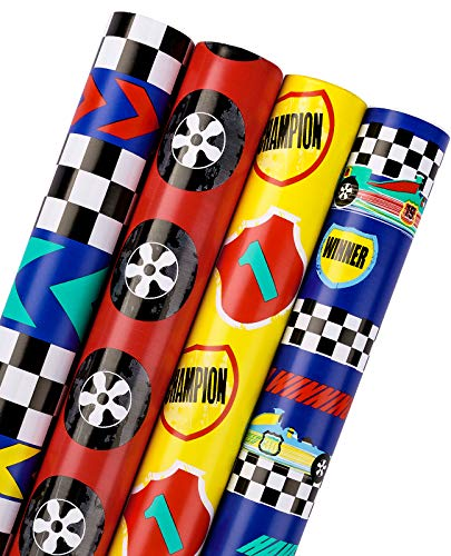 WRAPAHOLIC Birthday Wrapping Paper Roll - Cool Racing Cars and Autodrome Set Perfect for Party, Celebrating, Baby Boy Present Packing - 4 Rolls - 30 inch X 120 inch Per Roll