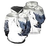 Sudaderas con Capucha para Hombre, Sudadera con Estampado 3D de Animal de Lobo Blanco/Sudadera con Capucha y Cremallera Harajuku, Ropa Informal Unisex con Capucha Color as The Picture 2XL