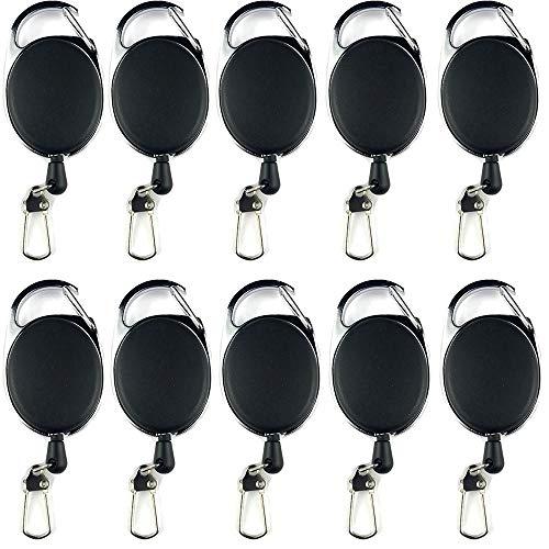 Amaoma 10 stuks sleutel Jojo identiteitskaart Jojo met riemclip sleutelhanger uittrekbare sleutelhanger met extra sterke veer en scheurvast snoer voor sleutelID-kaart, zwart
