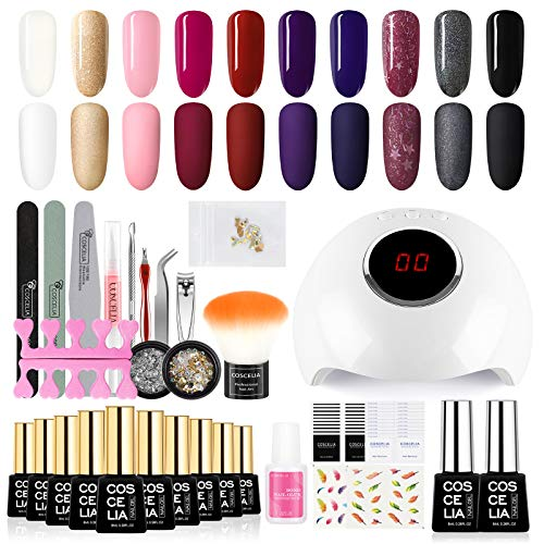 Gel Nail Polish Starter Kit with U V LED Light 24W Nail Lamp Dryer 10 Colors Gel Nail Kit Gel Manicure Tools Rhinestone Home DIY Nail Art Designs Kit