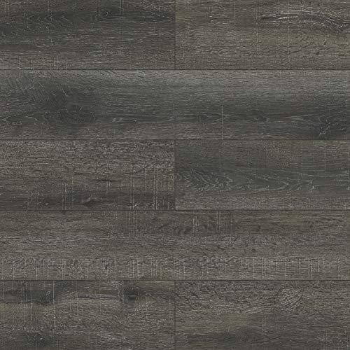 Dotfloor Empire Vinyl Planks Flooring Tiles 19.11 sq.ft Wood Grain with 1.5mm Padding 5.5mm for Home Office Bathroom Black Sawcut