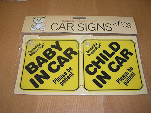2 Pack Beautiful Beginnings Car Sign Kids Safety Child Baby Yellow