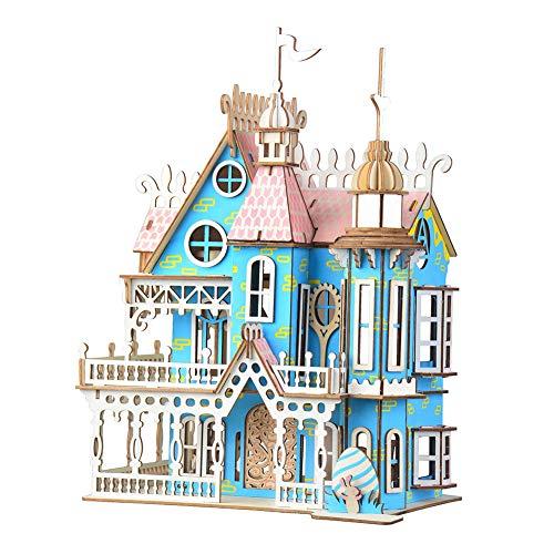 1PC 3D Holzpuzzle Dream Villa Modell Puzzle-Gebäude DIY Haus Puzzle-Kit für Kinder Lernspielzeug