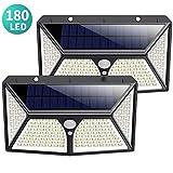 Luce Solare Led Esterno, Kilponen [2019 Ultimi Modelli 2500 mAh 180LED] Lampada Solare Esterno con Sensore di Movimento 270º Luci Esterno Energia Solare Impermeabile con 3 Modalità - 2 Pezzi