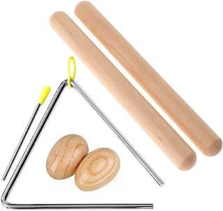 ساز کوبه ای مثلث موزیکال 6 اینچ ، 1 جفت 8 اینچ ریتم استیک بچه های کلاسیک چوب کلاسیک ، 1 جفت شیکر تخم مرغ چوب طبیعی ، ساز کوبه ای موزیکال دستی برای کودکان