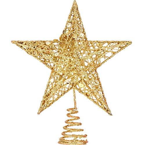 Bememo 8 Pollici Squisito Shimmery Topper Albero di Natale Albero delle Stelle per Decorazione dell'Albero di Natale