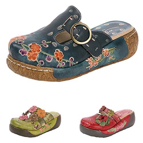 Mallimoda Damen Mokassins Slipper Leder Sandaletten Sommer Blume Plateau Keilabsatz Pantoletten Classic Clogs Strandschuhe Art 2-Marine EU 37=Asian 38