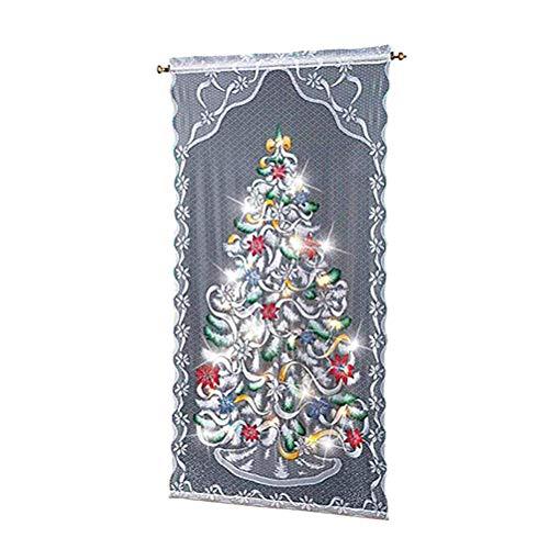 basku Weihnachts Gardinen Vorhänge, Spitze Vorhänge Scheibengardine mit LED Weihnachten Deko Weihnachtsvorhang Tüll Fenster Behandlung Weihnachtsbaum Christmas Gardine (102x213cm)