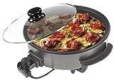 Sogo SS-10070 - Multicazuela/Paellera/Pizza Pan con Tapa de cristal, Dimetro 42cm, Profundidad 9cm, 1500W, Base Antiadherente, Color Negro