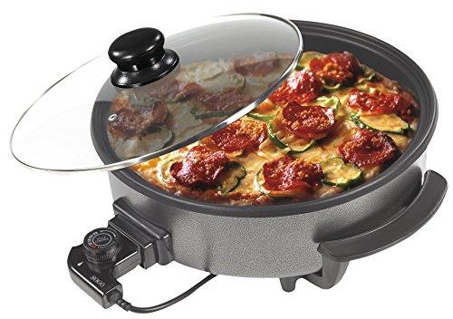 Sogo SS-10070 - Multisartén/Pizza Pan con Tapa de cristal, Diámetro 42cm, Profundidad 9cm, 1500W, Base Antiadherente, Color Negro