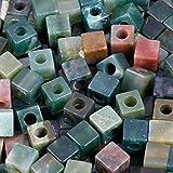 KYEYGWO - Cubos de ágata india, cuadrados de piedra natural a granel, con agujero de 5 mm, grandes perlas para fabricación de joyas, pulseras y collar, 20 unidades
