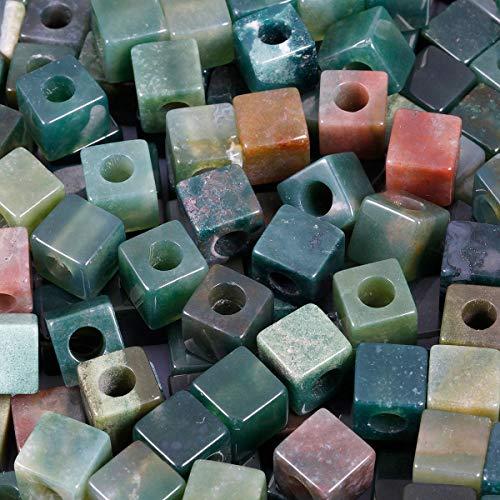 KYEYGWO - Cubo cuadrado de piedra natural a granel con agujero de 5 mm, cuentas grandes para fabricación de joyas, pulseras, collares, lote de 20, ágata india, multicolor