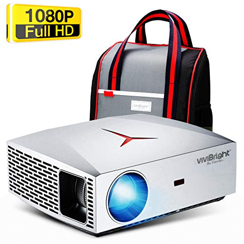 VIVIBRIGHT F40 Full HD Beamer, Native 1080P Projektor, Video Beamer mit 4800 Lumen LED-Helligkeit, geeignet für Heimkino-Unterhaltung und Business, 300 Zoll für PC / TV-Box / Laptop / PS4 / PPT